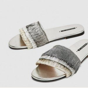 NWT ZARA SILVER SLIDES WITH FRINGE, 6